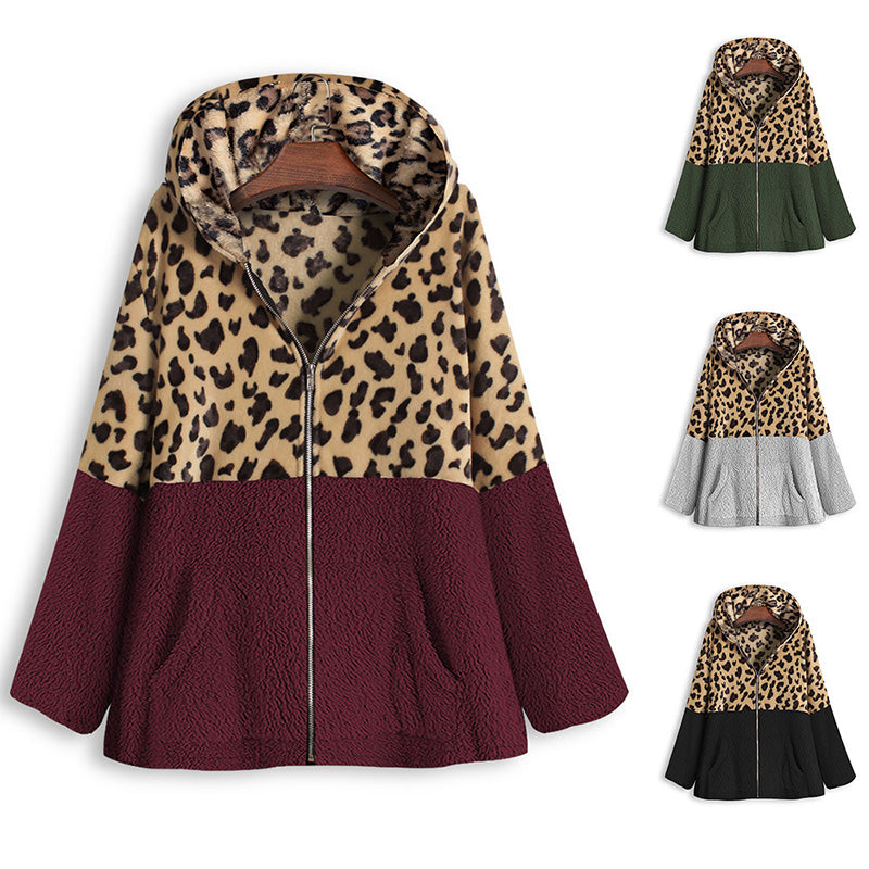 Leopard Patchwork Zipper Hooded Coat