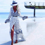 Bohemian Maxi Dress Beachwear Long Sleeve Dress - MagCloset