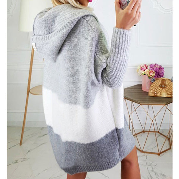 Solid Color Patchwork Sweater Cardigan Outerwear