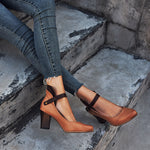 Women Casual Vintage Buckled Shoes Chunky Heeled Sandals