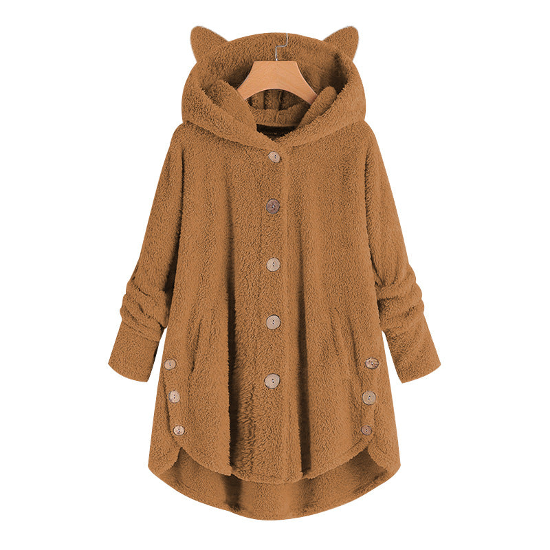 Fleece Solid Color Cat Ear Hooded Coat