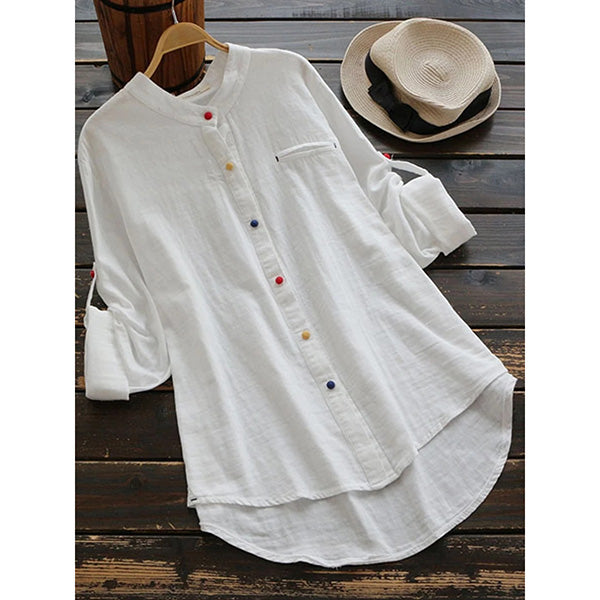 Colorful Buttoned Long Sleeveed Blouse Shirts