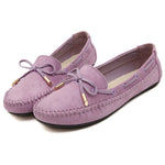 Womens Suede Leather Bowknot Flats Shoes Cosy Moccasin
