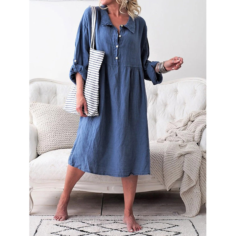 Women Long Sleeve Shirt Collar Buttoned Dress