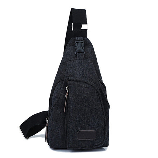 Men Canvas Backpack Shoulder Chest Hiking Bag - MagCloset