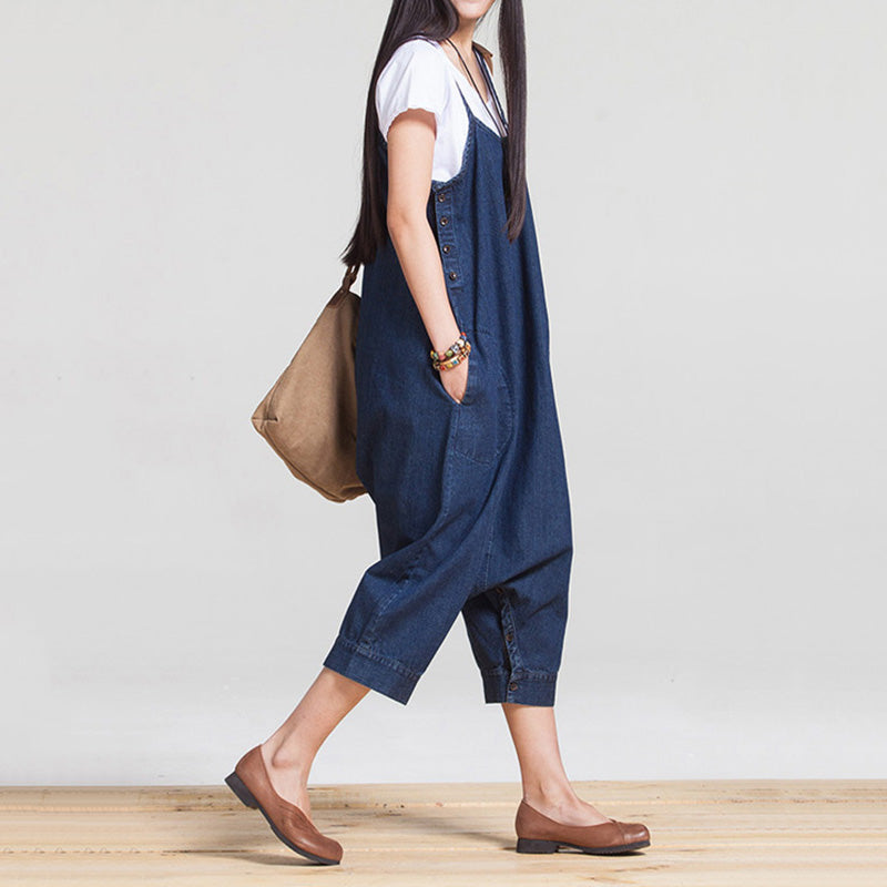 Two Way Casual Loose Suspenders Jeans Dresses Jumpsuits