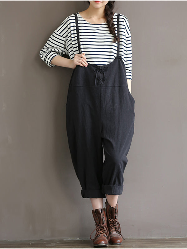 Fashion Lace Up High-Waisted Trousers