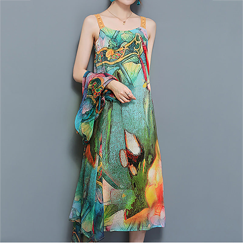 Vintage Printed Two Pieces Set Mid-Long Dresses
