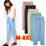 Summer Women's Plus Size Cotton Cropped Pants