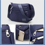 Multi-Pockets Waterproof Nylon Shoulder Bag Casual Crossbody Bag