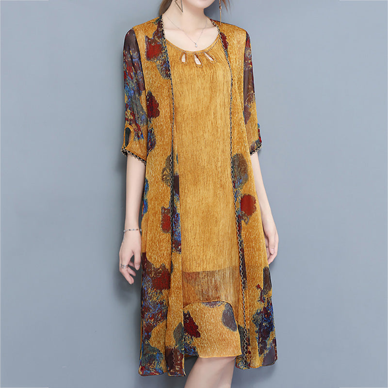 Vintage Printed Two Pieces Set Mid-Long Chiffon Dresses