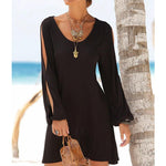 Casual Swing Long Sleeve Slit Shoulder Shift Crew Dress