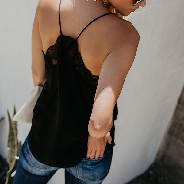 V Neck Lace Paneled Summer Tank Top