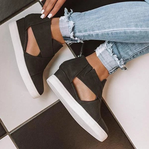 Women Fashion Stylish Zipper Wedge Sneakers