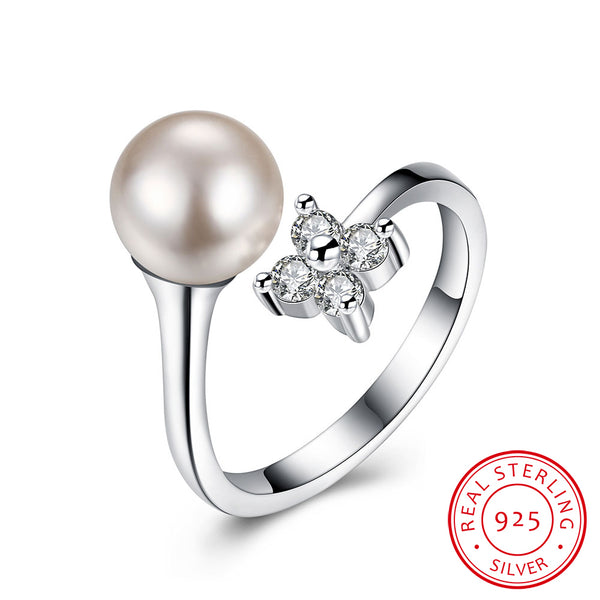 Shell Pearl 925 Sterling Silver Cubic Zircon Adjustable Ring