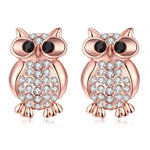 Fashion Rose Gold with Crystal Owl Earrings
