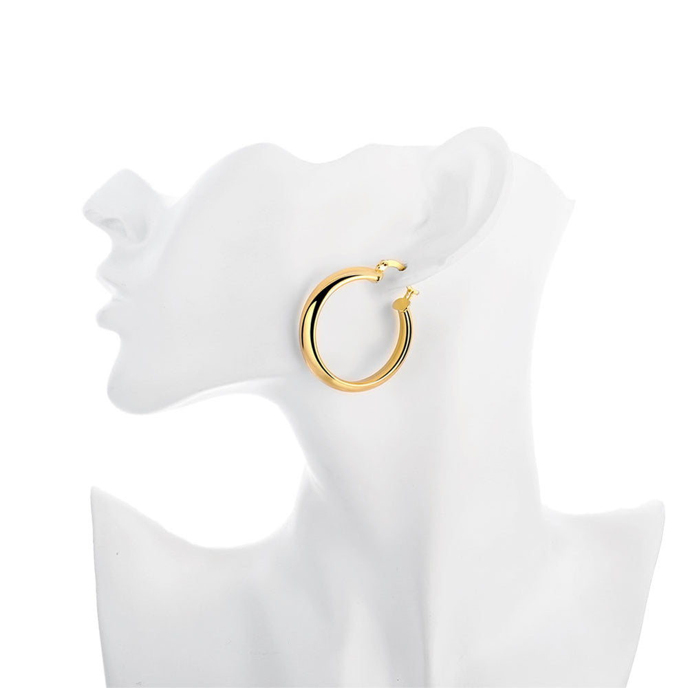 Classic Round Simple 24 K Gold Plated Earrings - MagCloset