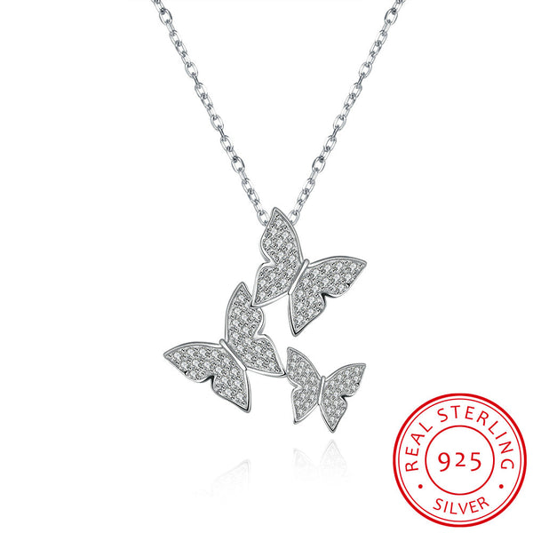 925 Sterling Silver 3 Butterflies Pendant Necklace - MagCloset