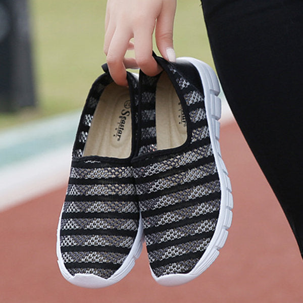 Stripe Mesh Breathable Flat Casual Soft Shoes