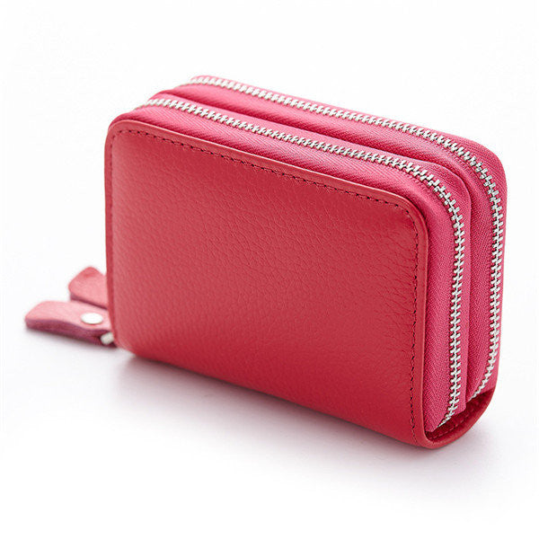 CLEARANCE-Women Men Geniune Leather 10 Card Holder Portable Coin Bags Short Wallet