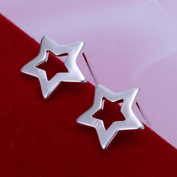 Hollow Out Star Earrings Silver Plated Ear Studs - MagCloset