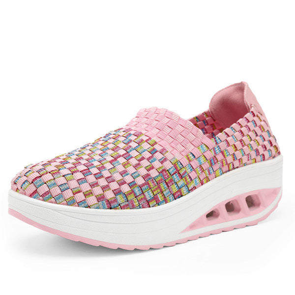 Platform Color Match Casual Rocker Sole Sport Slip On Shoes