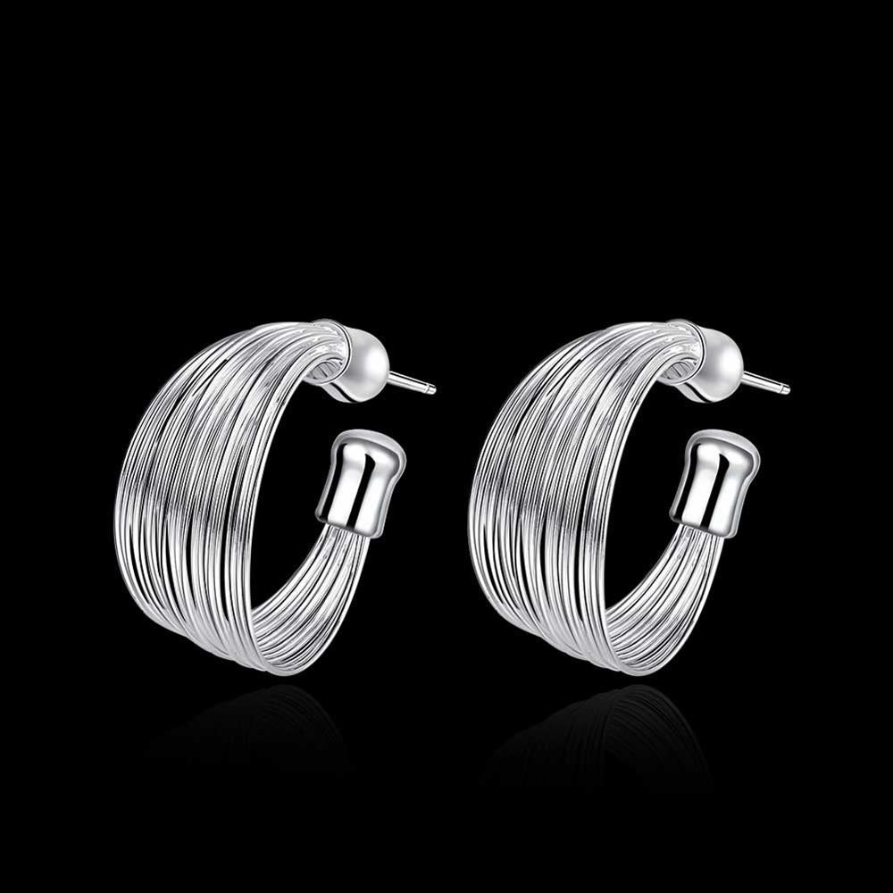Fashion Simple Ear Studs Silver Plated Earrings - MagCloset
