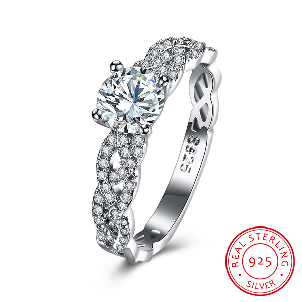 Woven-Shaped 925 Sterling Silver Round Zircon Ring