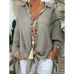 Loose Cotton Linen Solid Long-Sleeved Extra-Long Shirts