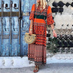Half Sleeve Boho Patchwork Maxi Dress