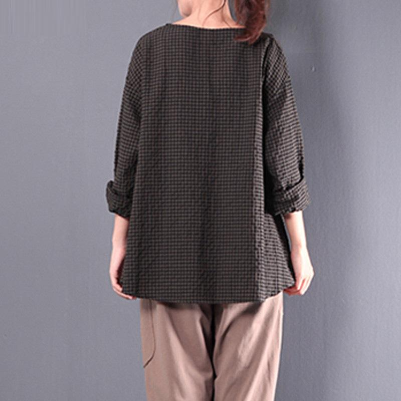 Casual 3/4 Sleeve Linen Gingham Folds Plus Size Blouse - MagCloset