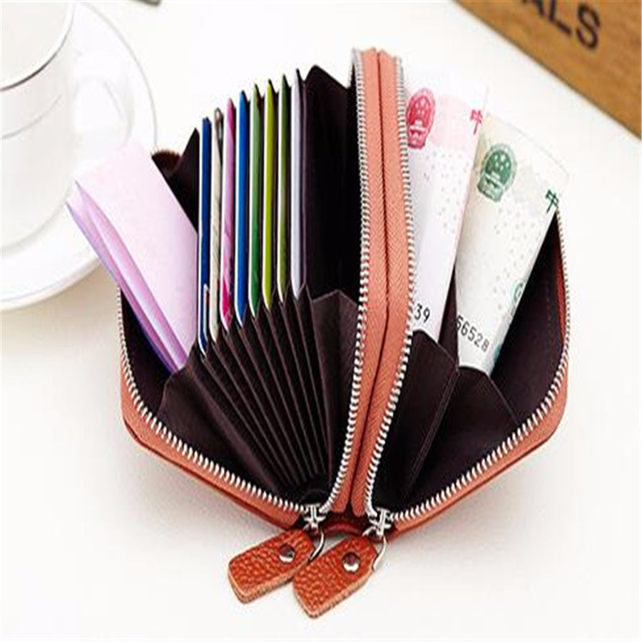Women Men Geniune Leather 10 Card Holder Portable Coin Bags Short Wallet