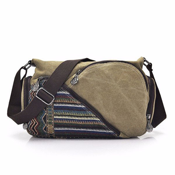 CLEARANCE-Women Canvas Patchwork Stripe Novel Shoulder Bag