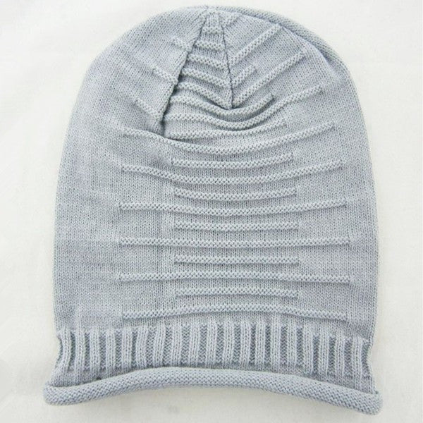 Women Knitted Woolen Stripe Beanie Cap Casual Foldable Warm Head Hat