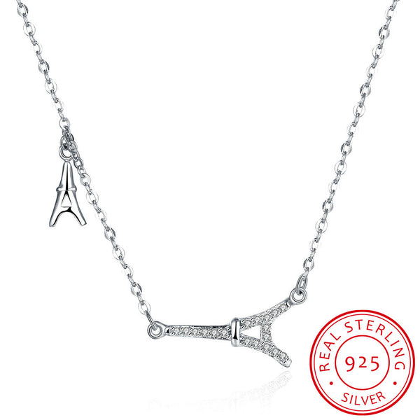 S925 Sterling Silver Eiffel Tower Pendant Necklace