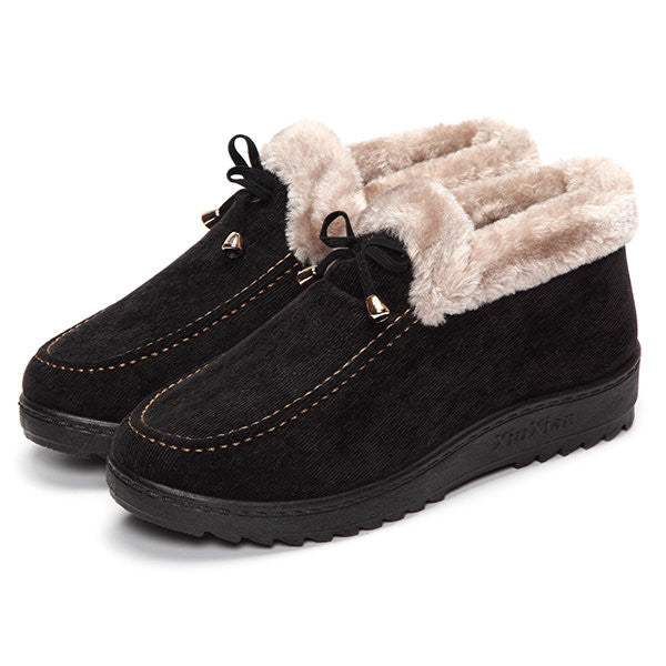 Bowknot Slip On Faux Fur Lining Soft Sole Round Toe Warm Short Boots - MagCloset