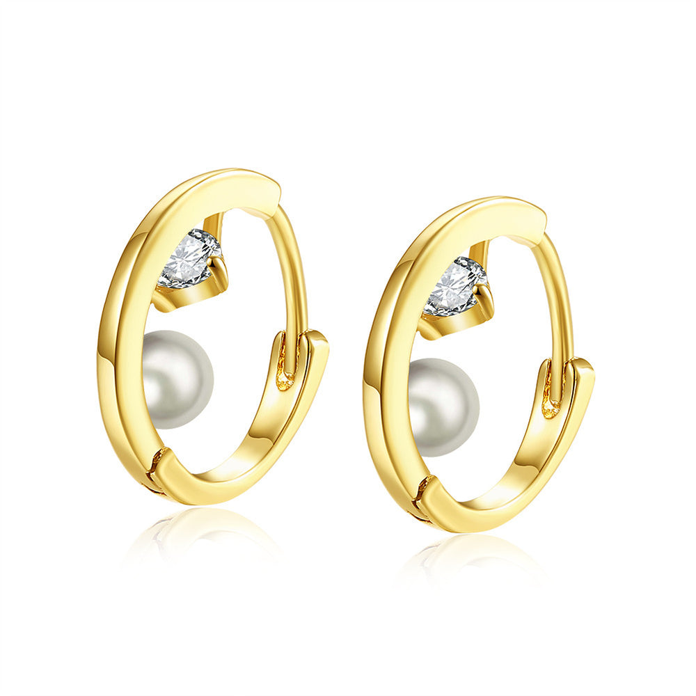 Gold Plated Earrings with Zircon & Pearl