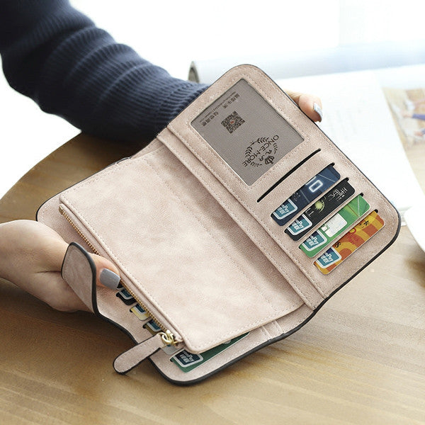 CLEARANCE-14 Card Slots Woman Four Fold Wallet Purse PU Card Bag Multi-Card Slots Phone Bag