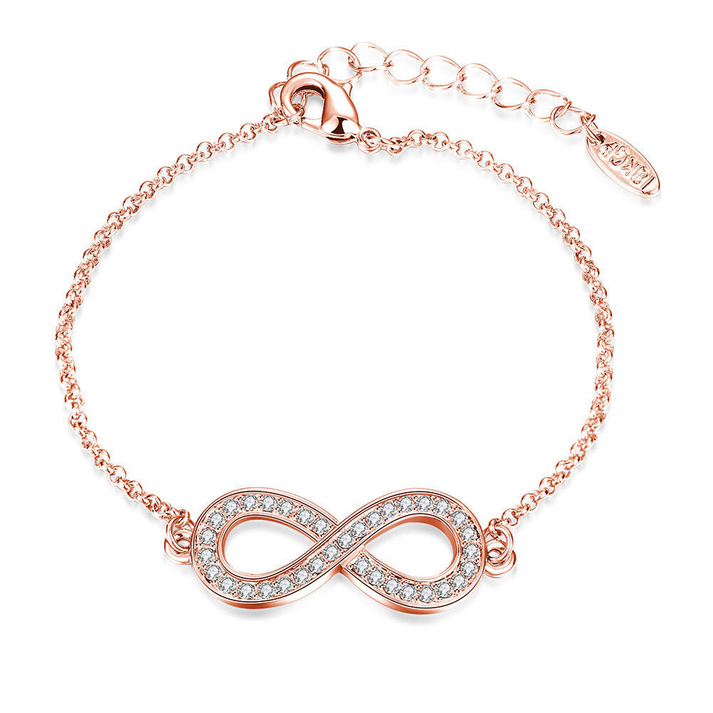 Fashion rose gold infinity bracelet