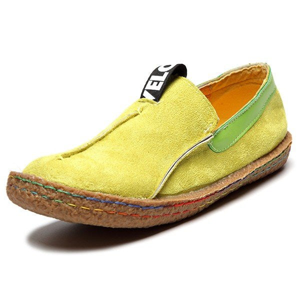 CLEARANCE-Suede Pure Color Slip On Stitching Flat Soft Shoes For Women - MagCloset