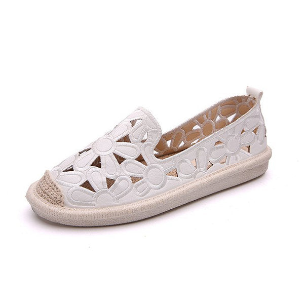 Hollow Out Flower Soft Breathable Lazy Flat Shoes - MagCloset