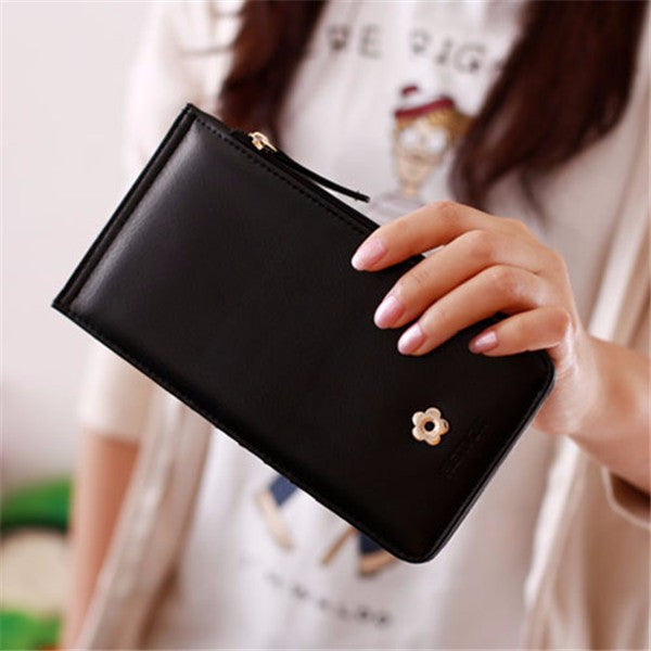 CLEARANCE-Women Vintage Flower Metal Hasp 20 Card Slots Card Holders Purse Wallet 5.5 inches Phone Bag