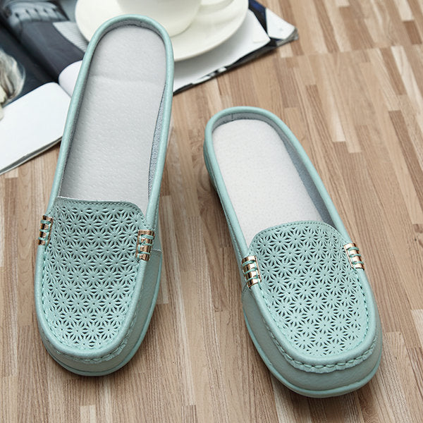 Hollow Out Slippers Breathable Soft Sole Loafer Flat Shoes - MagCloset