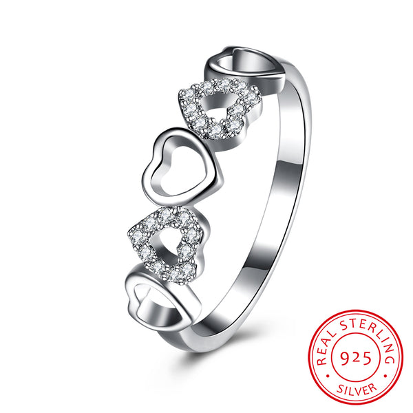 Five Heart Shape 925 Sterling Silver Zircon Ring - MagCloset