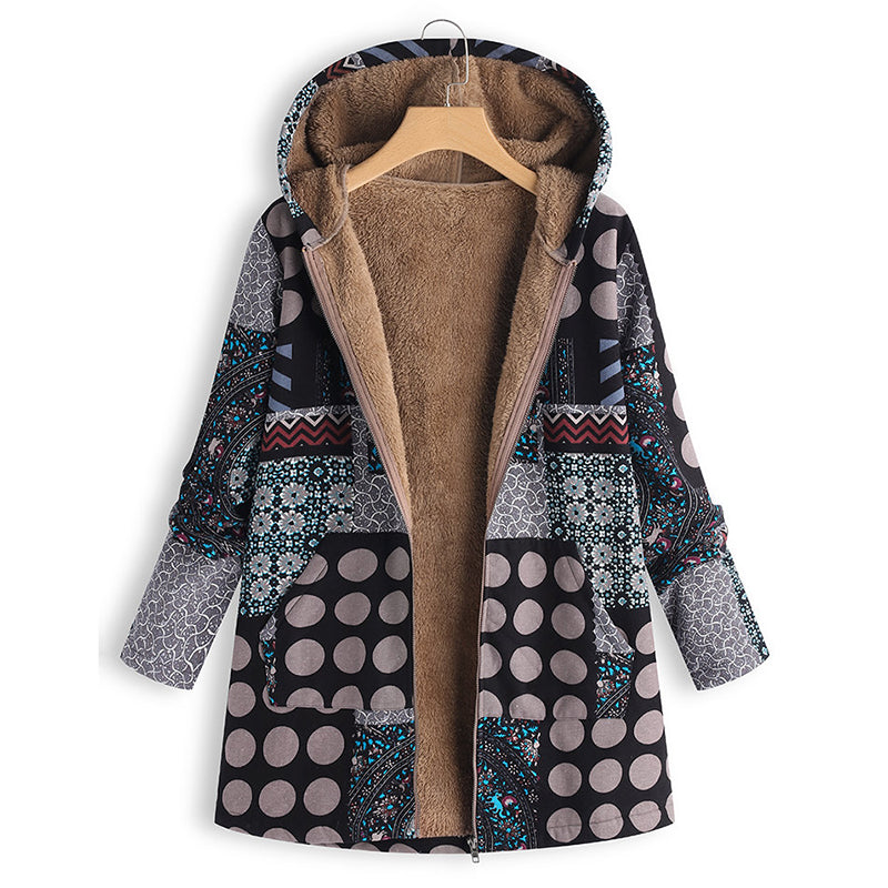 Polka Dot Print Patchwork Hooded Vintage Coats