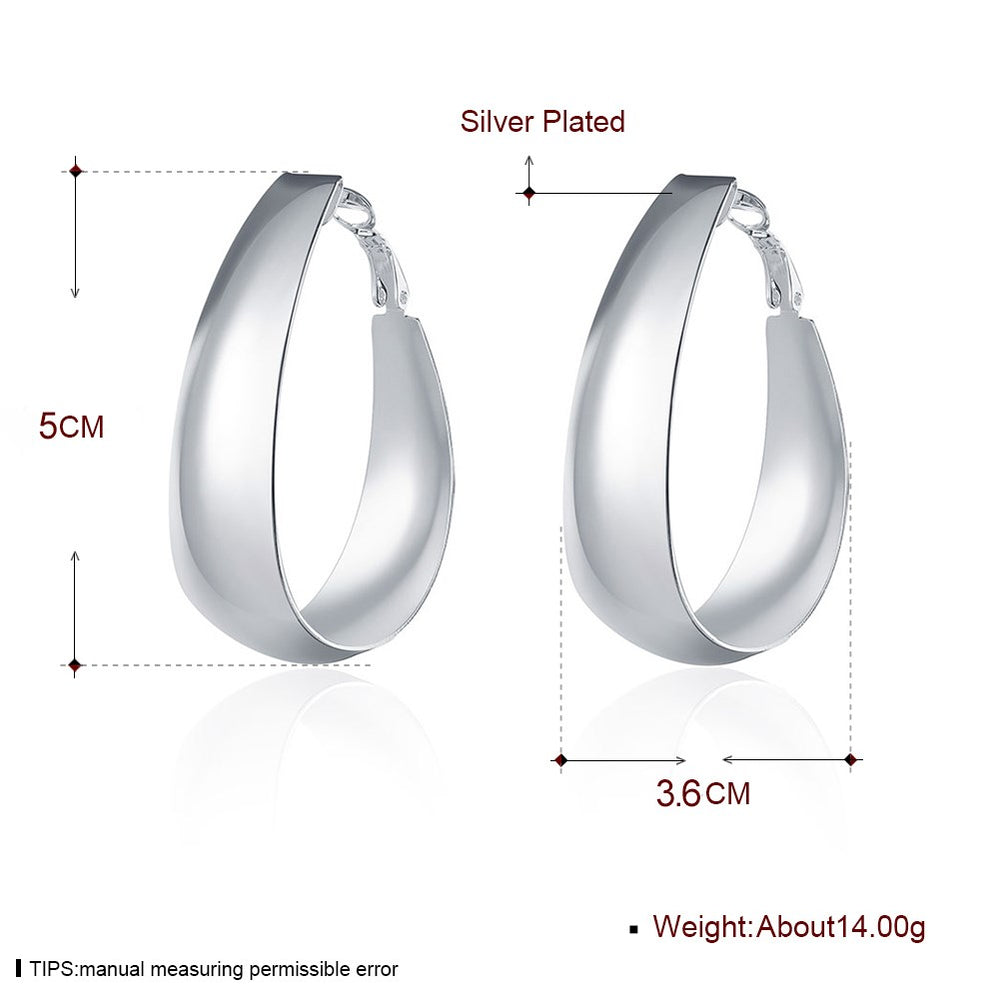 Glossy Egg-Shape Ear Studs Silver Plated Earrings