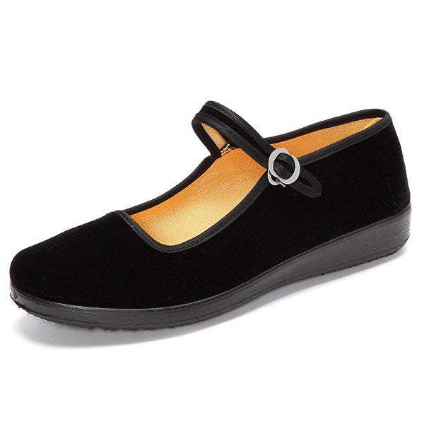 Black Canvas Buckle Dance Ballet Flat Mary Jane Chinese Style Shoes - MagCloset