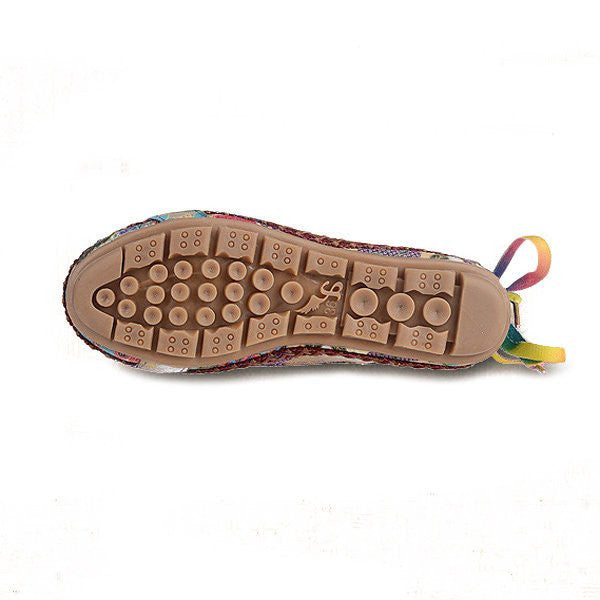 CLEARANCE-Bead Chain Knitting Butterflyknot Retro National Wind Lace Up Flat Shoes For Women - MagCloset