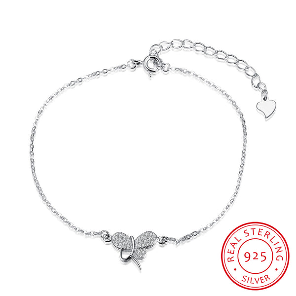 Exquisite Butterfly 925 Sterling Silver Chain Bracelet - MagCloset