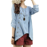 Fashion Loose Plus Size Linen Blouse Shirt Denim Irregular Shirts - MagCloset